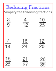 Step by step lessons and worksheets to learn and practice on how to reduce fractions into lowest terms.
